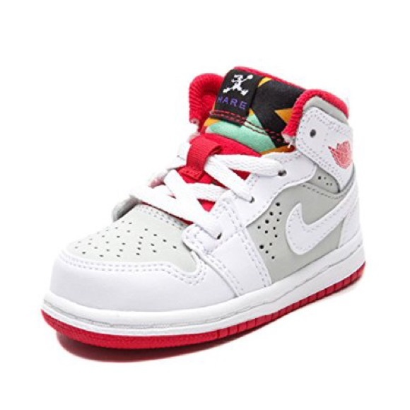 reputable site 06229 e7886 Air Jordan 1 Mid WB Hare WHITE/Red Sneaker Toddler